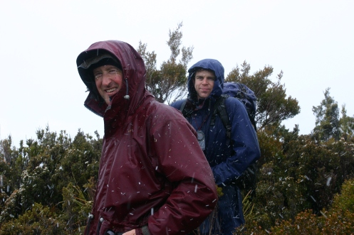 Dale and Matt on the summit of the Princess Range in snowfall 1