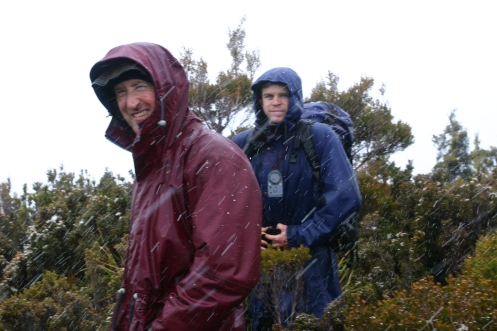 Dale and Matt on the summit of the Princess Range in snowfall 2