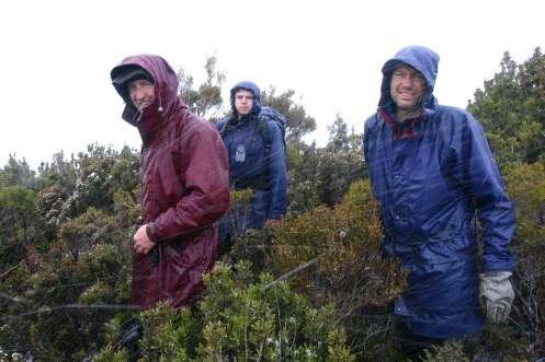 Dale, Matt and Richard on the summit of the Princess Range in snowfall 1