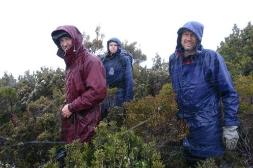 Dale, Matt and Richard on the summit of the Princess Range in snowfall 1
