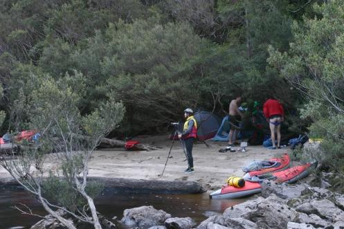 Matt, Richard, Dale setting up camp, mid Franklin River