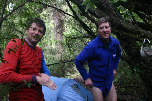 Richard and Dale at camp in the scrub